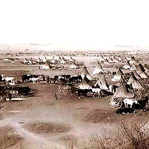 A picture of a Lakota Sioux Camp in the 1800s